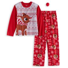 Girls 4-10 Jammies For Your Families Rudolph The Red Nosed Reindeer Top & Bottoms Pajama Set with Red Nose, Size: 8