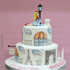 I love Paris! Paris Birthday Cakes, Sweet Birthday Cake, Paris Themed Cakes, Paris Cakes, Themed Birthday Cakes, Bolo Paris, New York Cake, Travel Cake, Cupcake Shops