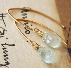 Blue Aquamarine Earrings  14KT Gold Fill  Simple Hooks by OhKuol, $39.00