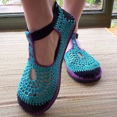 Mary Jane crochet SHOES - Turquoise and Purple - CUSTOM MADE - on Etsy, $68.89 AUD