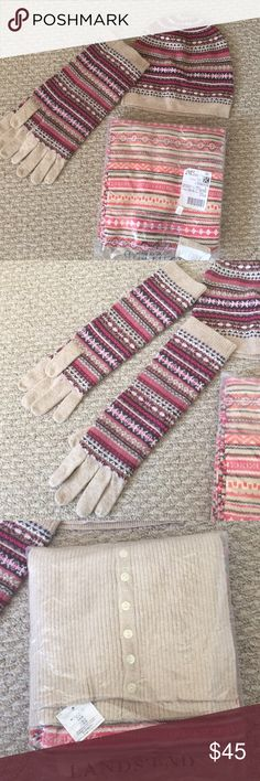 Fair Isle hat, gloves and scarf set. Brand new matching set of wool beanie, long gloves and scarf. Pink/purple design, scarf has some orange in it. I bought them as separate pieces, but am selling together for much less! Excellent quality. Still in bag. Lands' End Accessories Gloves & Mittens