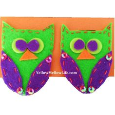 Felt Hair Clips Pair - Owls