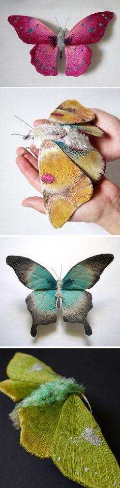 Textile Moth and Butterfly Sculptures by Yumi Okita www.thejealouscur… - World of Animals Textile Sculpture, Textile Fiber Art, Textile Artists, Soft Sculpture, Fabric Art, Fabric Crafts, Fabric Manipulation, Felt Art, Needle Felting
