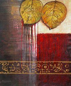 Bleeding Aspen Leaf Oil Painting 36x24 $86.00