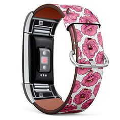 Compatible with Fitbit Charge 2 - Leather Band Bracelet Strap Wristband Replacement with Adapters - Pink Poppy Flower... Poppy Flowers, Pink Poppies, Fitbit Charge, Fitbit Flex, Band, Bracelets, Leather, Bangle Bracelets, Sash
