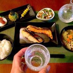 美味しいよぉと味噌漬けを頂いたので今宵はThe和々〜 - 57件のもぐもぐ - Today's Dinner前菜・大和芋オクラ納豆・鮭&鰆の味噌焼き・山盛りキャベツの絶品豚汁・ご飯 by honeybunnyb