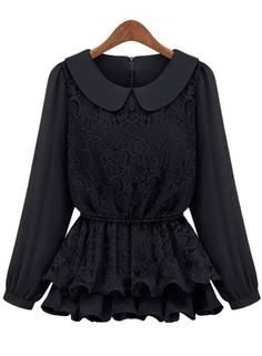 SHEIN offers Black Long Sleeve Lace Ruffles Chiffon Blouse & more to fit your fashionable needs. Chiffon Ruffle, Chiffon Shirt, Chiffon Tops, Chiffon Blouses, Ruffles, Grunge, Black Lace Blouse, Shorts, Retro