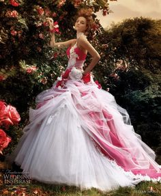 painting the roses Alice in Wonderland wedding gown