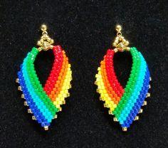 Pendientes hoja ruso en tonos de arco iris