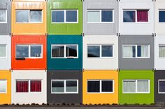 Shipping container houses for students in the city of Groningen, the Netherlands.