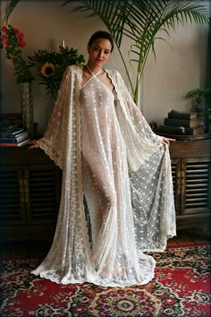 Bridal Nightgown Embroidered Lace Halter Bare Back Dress Wedding Sleepwear Lingerie Bridal Lingerie Honeymoon French Lace Ivory Lace - French lace Bridal halter nightgown. Wonderfully soft side like feather light and purely decadent a - Lace Bridal Robe, Bridal Nightgown, Bridal Robes, Wedding Lingerie, Wedding Gowns, Vintage Nightgown, White Nightgown, Backless Gown, Flowy Gown
