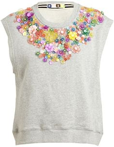 7b6999ce755af Msgm Embellished Sweatshirt Tank Top in Gray (grey) - Lyst Tambour  Embroidery