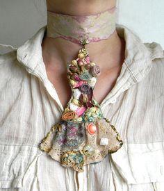 Statement necklace choker organic jewelry textile by Elyseeart, $58.00