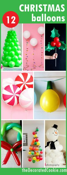 A roundup of DIY Christmas balloons -- budget-friendly holiday decor ideas -- balloon crafts