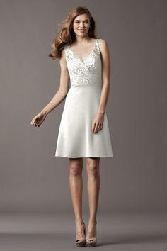 Sleeveless V Neck Knee Length Satin A Line Wedding Dress Awa0011