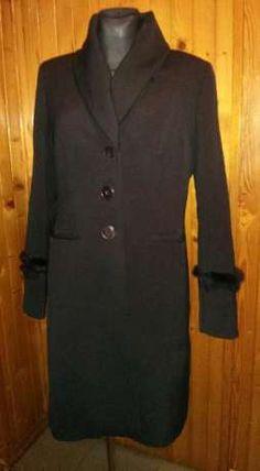 200 zł: DENI CLER - czarny, elegancki, klasyczny płaszcz, rozmiar 42 XL. Jest…