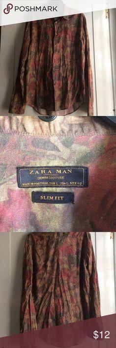 Zara Men Button Down Shirt Size Large Preowned Zara Men button down shirt size large. Flower Pattern very nice. Zara Men Shirts Casual Button Down Shirts