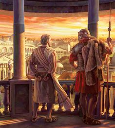 """The prisoner Paul, chained to a Roman soldier, viewing part of the city of Rome. """". . . to the most distant part of the earth.""""—Acts 1:8"""