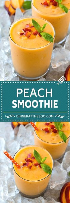 Peach Smoothie Recipe Easy Smoothie Recipe Peach Recipe INGREDIENTS 1 1 2 cups peach banana 1 2 cups frozen 2 cup frozen 4 cup vanilla Greek yogurtfresh peaches and mint sprigs for garnish optional peach smoothie drink dinneratthezoo # Healthy Breakfast Smoothies, Easy Smoothies, Healthy Drinks, Breakfast Recipes, Breakfast Fruit, Healthy Yogurt, Healthy Peach Smoothie, Healthy Kids, Smoothies Healthy Weightloss
