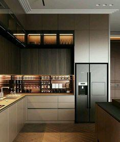 Modern Kitchen Interiors, Modern Kitchen Cabinets, Elegant Kitchens, Interior Modern, Luxury Kitchens, Home Decor Kitchen, Kitchen Ideas, Kitchen Inspiration, Kitchen Contemporary