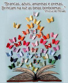 mural de primavera com borboletas de papel