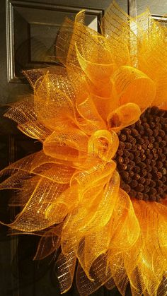 Yellow Sunflower Wreath Deco Mesh Sunflower by TriciasTreasures11