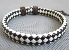 Shoply.com -Jewelry  white and black color  woven leather cord Bracelet. Only $2.95