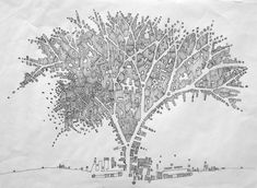 Oncopolis, pen on paper, cartographic drawing of cancerous tissue by Simeon Nelson.