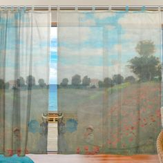Ingbags Bedroom Decor Living Room Decorations Monet Poppies At Argenteuil Pattern Print Tulle Polyester Door Window Gauze Sheer Curtain Drape Two Panels