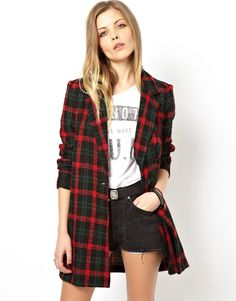 Image 1 of ASOS Reclaimed Vintage Check Coat