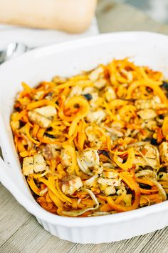 Turn spiralized butternut squash into an easy weeknight meal with this one-pan tempeh butternut squash noodle bake. It's loaded with flavor, packed with plant-based protein, vegan and gluten-free. Hi!!!! I'm Brittany, a health coach, personal trainer and the blogger behind Eating Bird Food where I share recipes, workouts, wellness articles, travel adventures and more. Food and nutrition are my passion so obviously Alexis and I are two peas in a pod. We bonded over medjool...Read More »