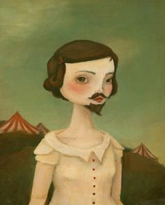 The Bearded Lady by The Black Apple, Emily Winfield Martin. Bearded Lady, Estilo Hippie, Black Apple, Vintage Circus, Pop Surrealism, Moustache, Illustration Art, Fine Art, Drawings