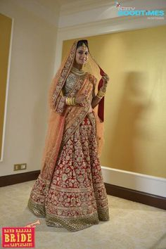 Sabyasachi Mukherjee Band Baajaa Red and Orange Bridal Lehenga Choli - Gujarati Dresses-1700USD