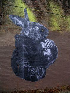 Rabbit with Head Mural - Street Art #StreetArt #art #graffiti