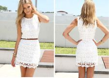 Summer Sexy Women Sleeveless Dress Lace Party Short Mini Dresses Clothes White