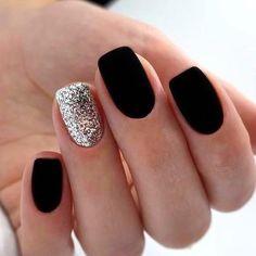 Black Nail Designs, Acrylic Nail Designs, Nail Color Designs, Shellac Designs, New Years Nail Designs, Square Nail Designs, Simple Nail Designs, Matte Black Nails, Purple Nails