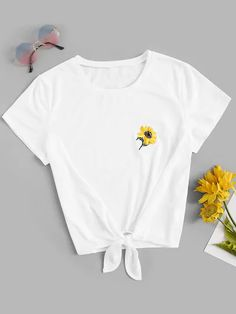 Product name: Knot Front Flower Embroidered Tee at SHEIN, Category: T-Shirts Embroidery On Clothes, Embroidered Clothes, Embroidered Flowers, Latest T Shirt, Cool Names, Printed Tees, Pulls, Romwe, Fashion News