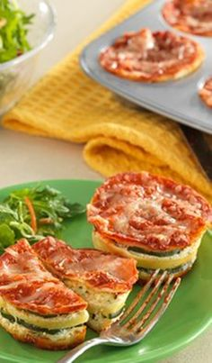 """Try these fun """"Lasagna Cupcakes"""" with a side salad for dinner, or as a snack or appetizer for party guests! Recipe options for both vegetarians and meat-lovers!"""
