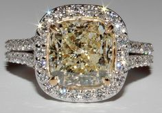 5 Carat EGL Certified Cushion Fancy Light Yellow Halo Diamond Engagement Ring #GOELTALA #SolitairewithAccents