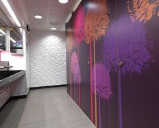 Purple Doors Formica® Envision™ for MTV EU washrooms  #Formica #Envision #Design #custom #laminate