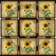 Primitive Printable Sunflower Hang Tags  by OldBarnDigitalArt