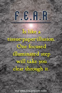 """Fear is like a tissue paper illusion. One focused illuminated step will take you clear through it."""