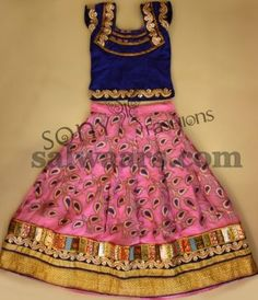 Peach Color Silk Kids Lehenga