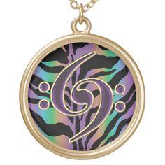 Music Double Bass Clef on Rainbow Zebra Necklace