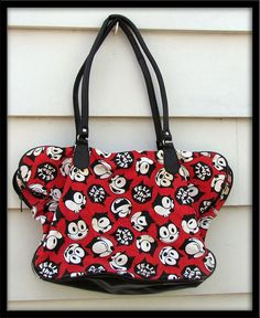 SALE 30% off See shop announcement vintage Felix the cat cartoon travel carry on vacation tote purse shoulder bag
