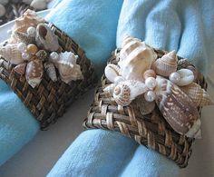 Пляж Декор Seashell кольца для салфеток - Shell кольца для салфеток в плетеная из ротанга, набор из 4