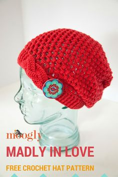 Madly In Love - free crochet hat pattern on Mooglyblog.com!