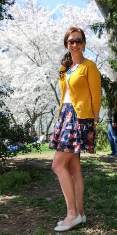 Washington, D.C. Cherry Blossoms. Wearing: ModCloth Yellow Cardigan - Floral Print Dress - Maurice's Statement Jewlery - Payless White Flats