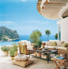 Patio overlooking the sea in Majorca, Spain.