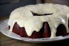 Sparkling Red Velvet Bundt Cake [This glaze is definitely going on my sweet potato pound cake]